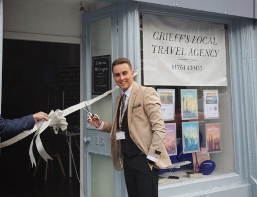 Pleased to open the doors to my first High Street Travel Agency in Crieff, Perthshire